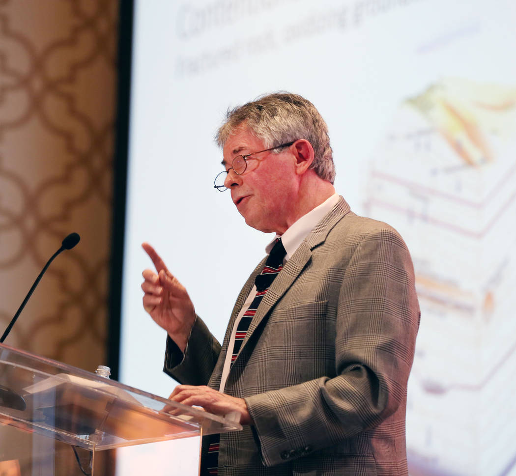 Executive director of the Agency for Nuclear Projects Robert J. Halstead speaks during a debate on restarting the Yucca Mountain Project at the JW Marriott hotel-casino in Las Vegas, Wednesday, Se ...