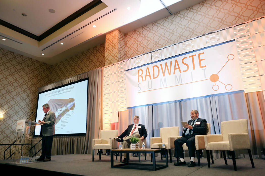 Executive director of the Agency for Nuclear Projects Robert J. Halstead speaks during a debate on restarting the Yucca Mountain Project at the JW Marriott hotel-casino Las Vegas, Wednesday, Sept. ...