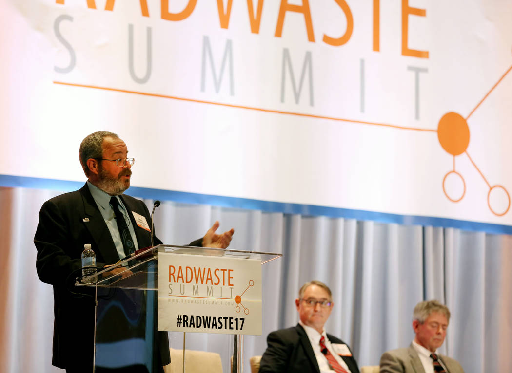 Commissioner and chairman of the Board of Nye County Dan Schinhofen speaks during a debate on restarting the Yucca Mountain Project at the JW Marriott hotel-casino in Las Vegas, Wednesday, Sept. 6 ...