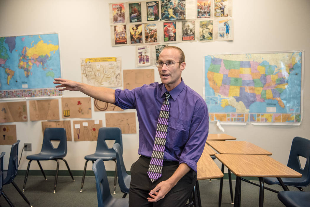 History teacher Jonathan Fogler discusses the quadrant diagrams on his classroom walls at Shadow Ridge High School on Wednesday, Sep. 5, 2017, in Las Vegas. Morgan Lieberman Las Vegas Review-Journal
