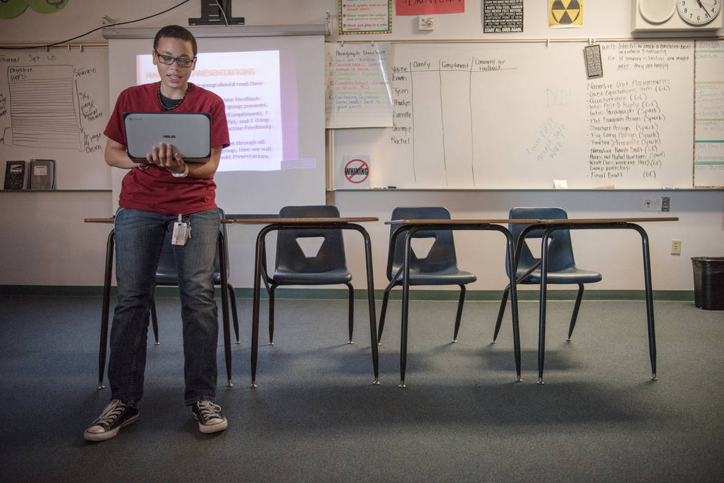 Shadow Ridge High School junior Allisa Carnegie presents his narrative story to his English class at the school in Las Vegas on Wednesday, Sep. 6, 2017. Morgan Lieberman Las Vegas Review-Journal