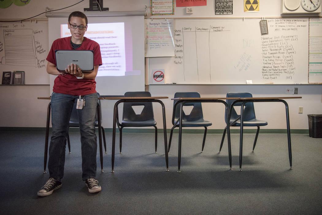 Shadow Ridge High School junior Allisa Carnegie presents his narrative story to his English class at the school in Las Vegas on Wednesday, Sep. 6, 2017. Morgan Lieberman Las Vegas Review-Journal