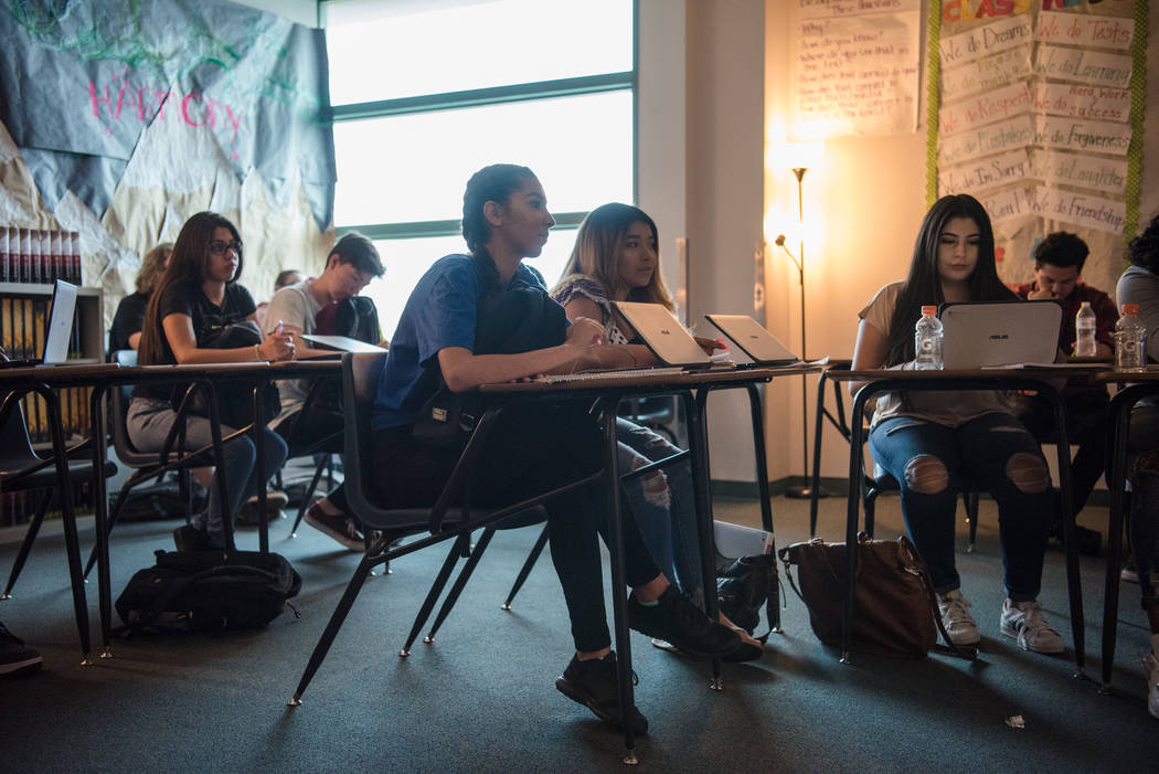 Students listen to a narrative story presentation at Shadow Ridge High School on Wednesday, Sep. 5, 2017, in Las Vegas. Morgan Lieberman Las Vegas Review-Journal