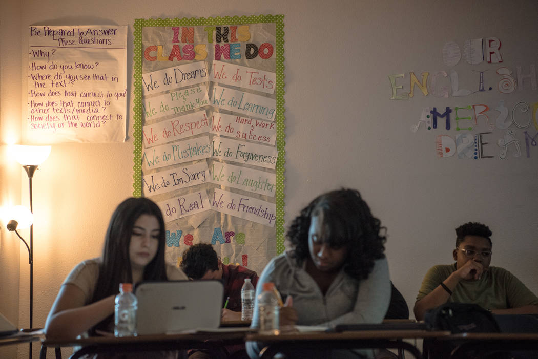 Kaci Dilliplane's wall of her English class  at Shadow Ridge High School on Wednesday, Sep. 5, 2017, in Las Vegas. Morgan Lieberman Las Vegas Review-Journal