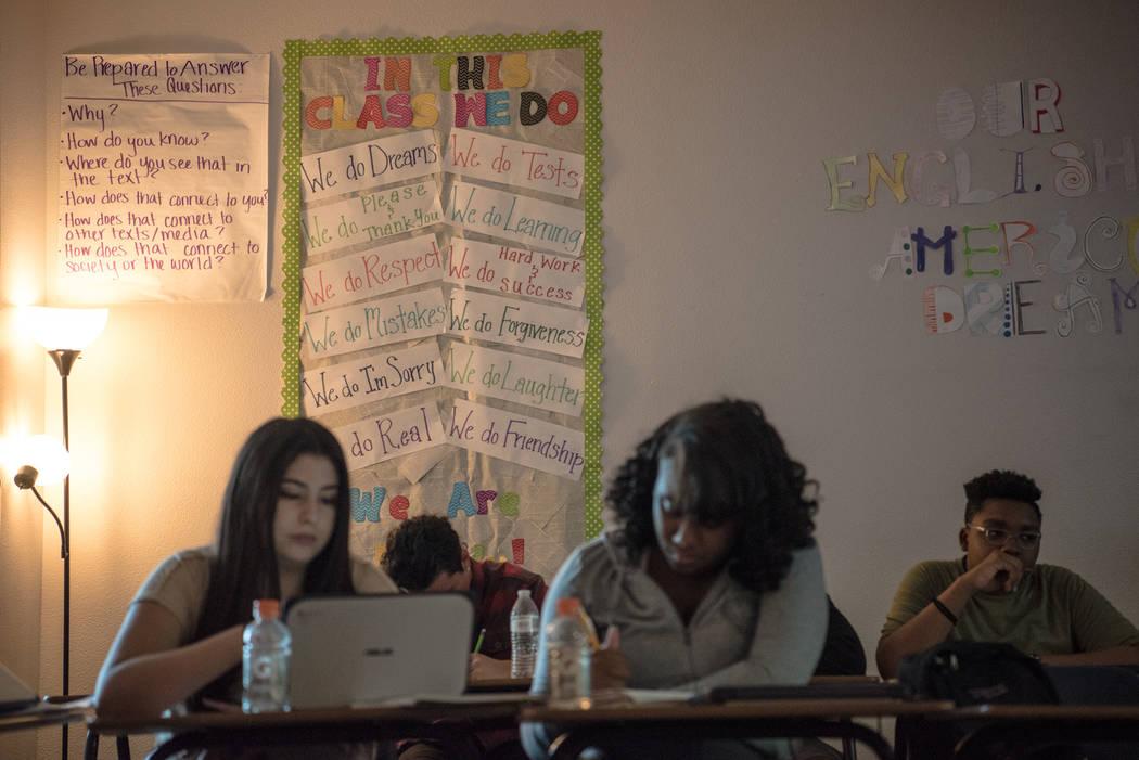 Kaci Dilliplane's wall of her English class  at Shadow Ridge High School on Wednesday, Sep. 5, 2017, in Las Vegas. Morgan Lieberman Las Vegas Review-Journal