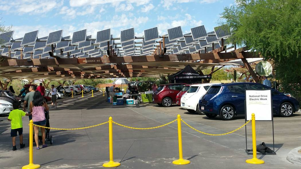 Stan Hanel Las Vegas Springs Preserve will host an electric car event Saturday under a photovoltaic solar cell canopy that tracks the sun and provides electricity to two ChargePoint electric car r ...