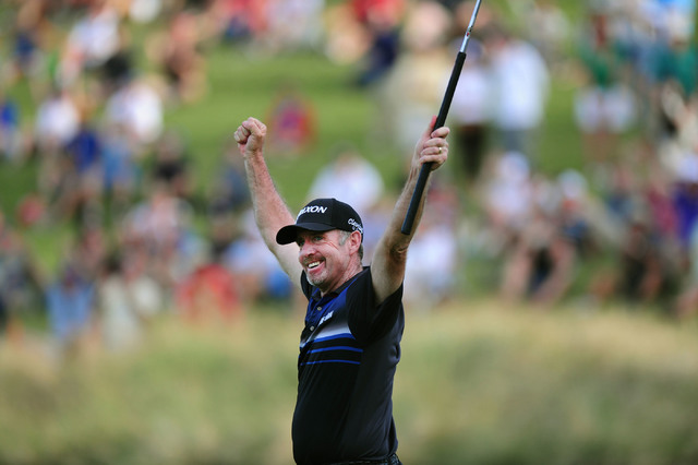 Rod Pampling celebrates after winning the Shriners Hospitals for Children Open golf tournament on the 18th hole at TPC Summerlin in Las Vegas, Sunday, Nov. 6, 2016. Josh Holmberg/Las Vegas Review- ...