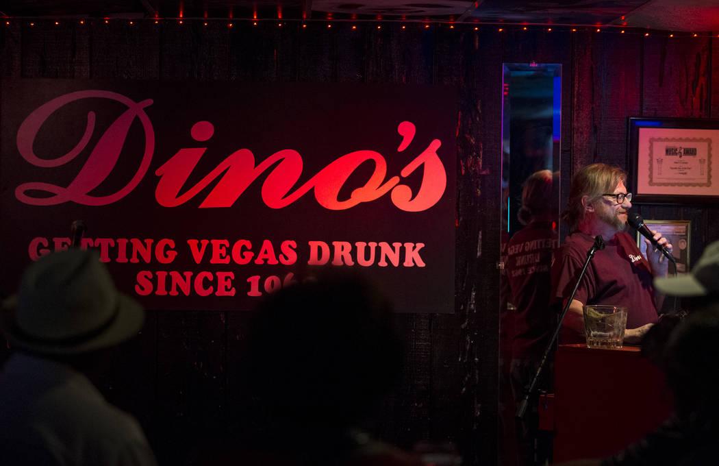 Karaoke disc jockey Danny G during karaoke night at Dino's Lounge in downtown Las Vegas on Thursday, Aug. 31, 2017.  Richard Brian Las Vegas Review-Journal @vegasphotograph