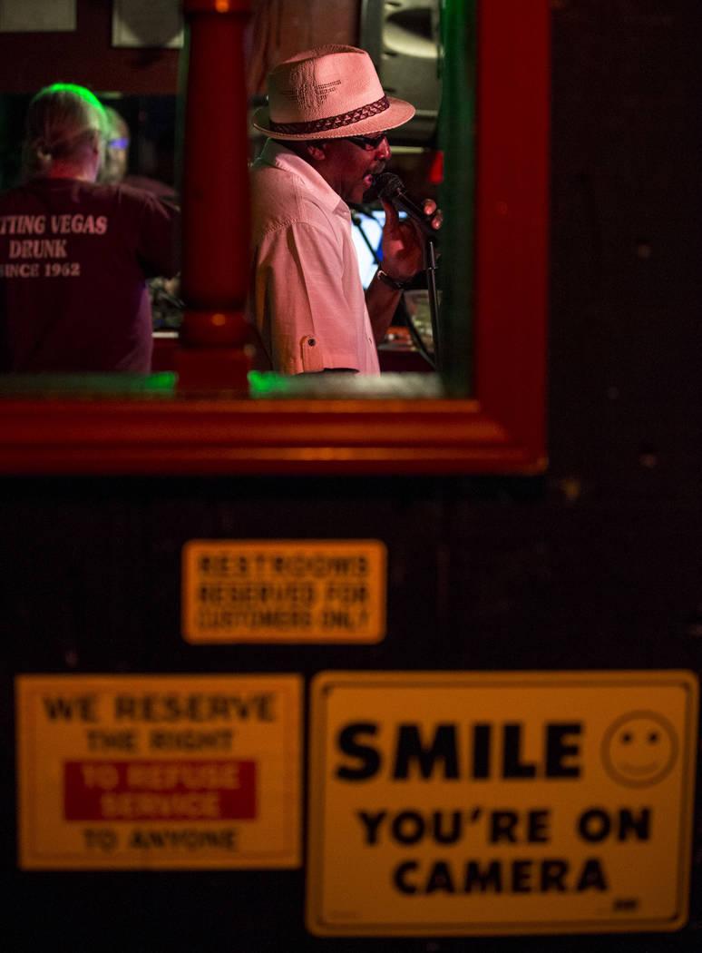 Henry Thomas of Texas sings karaoke at Dino's Lounge in downtown Las Vegas on Thursday, Aug. 31, 2017.  Richard Brian Las Vegas Review-Journal @vegasphotograph