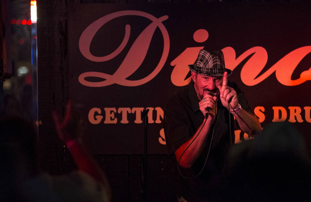 Terry Schlitter sings to Pink Floyd during karaoke night at Dino's Lounge in downtown Las Vegas on Thursday, Aug. 31, 2017.  Richard Brian Las Vegas Review-Journal @vegasphotograph