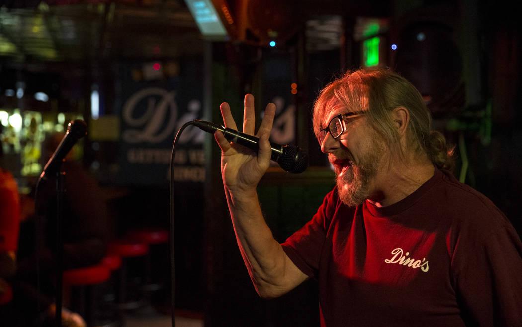 Karaoke disc jockey Danny G sings while hosting karaoke night at Dino's Lounge in downtown Las Vegas on Thursday, Aug. 31, 2017.  Richard Brian Las Vegas Review-Journal @vegasphotograph