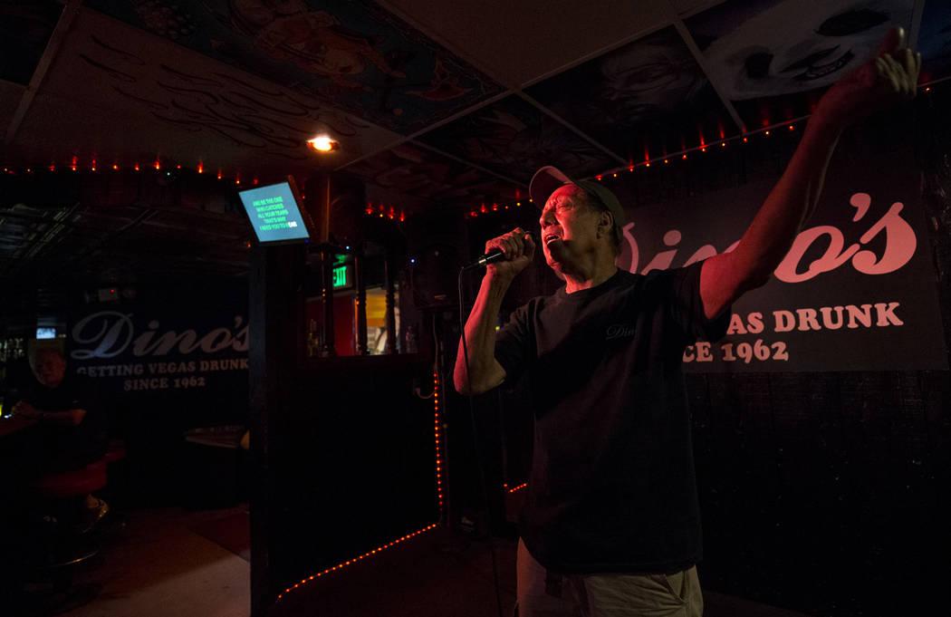 Las Vegas resident Art Amozorrutia sings during karaoke night at Dino's Lounge in downtown Las Vegas on Thursday, Aug. 31, 2017.  Richard Brian Las Vegas Review-Journal @vegasphotograph