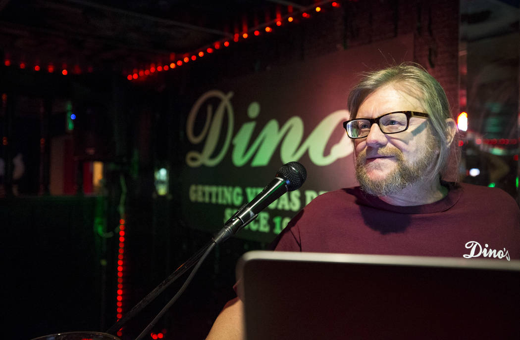 Karaoke disc jockey Danny G works his booth during karaoke night at Dino's Lounge in downtown Las Vegas on Thursday, Aug. 31, 2017.  Richard Brian Las Vegas Review-Journal @vegasphotograph