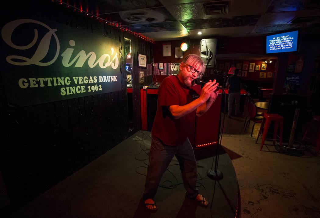 "Karaoke disc jockey Danny G sings to 3 Doors Down's ""Superman"" as he host karaoke night at Dino's Lounge in downtown Las Vegas on Thursday, Aug. 31, 2017.  Richard Brian Las Vega ..."