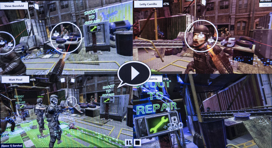 "Four players navigate their virtual world in the game ""Zombie Survival"" at Level Up on Tuesday, September 5, 2017, at the MGM Grand hotel-casino, in Las Vegas. Benjamin Hager Las ..."