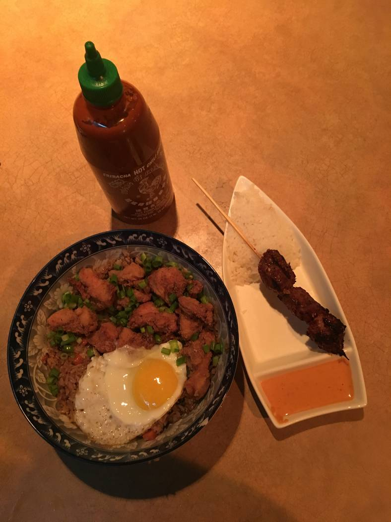 The fried chicken fried rice and the skewers are popular menu items at the Starboard Tack. (Katelyn Umholtz/Las Vegas Review-Journal) @kumh0ltz