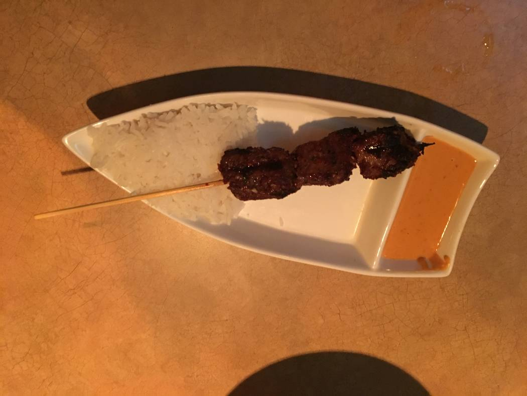 The Starboard Tack offers four skewers, beef, chicken, shrimp and mushroom, and it comes with a bed of rice and sauce. (Katelyn Umholtz/Las Vegas Review-Journal) @kumh0ltz