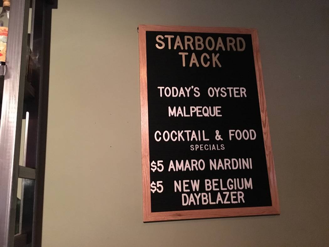 The menu at the Starboard Tack offers craft cocktails, draft beer, bar snacks and full-sized meals at an inexpensive price. (Katelyn Umholtz/Las Vegas Review-Journal) @kumh0ltz