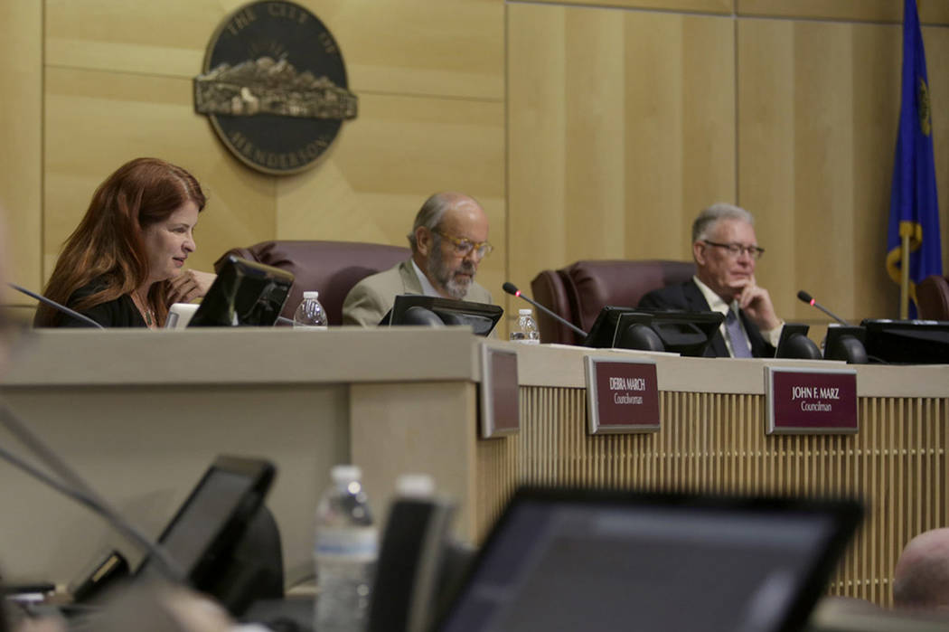 Newly elected Mayor Debra March, from left, City Council Ward III Councilman John Marz, and former Mayor Andy Hafen at the City Hall Council in Henderson, Tuesday, June 20, 2017. Gabriella Angotti ...