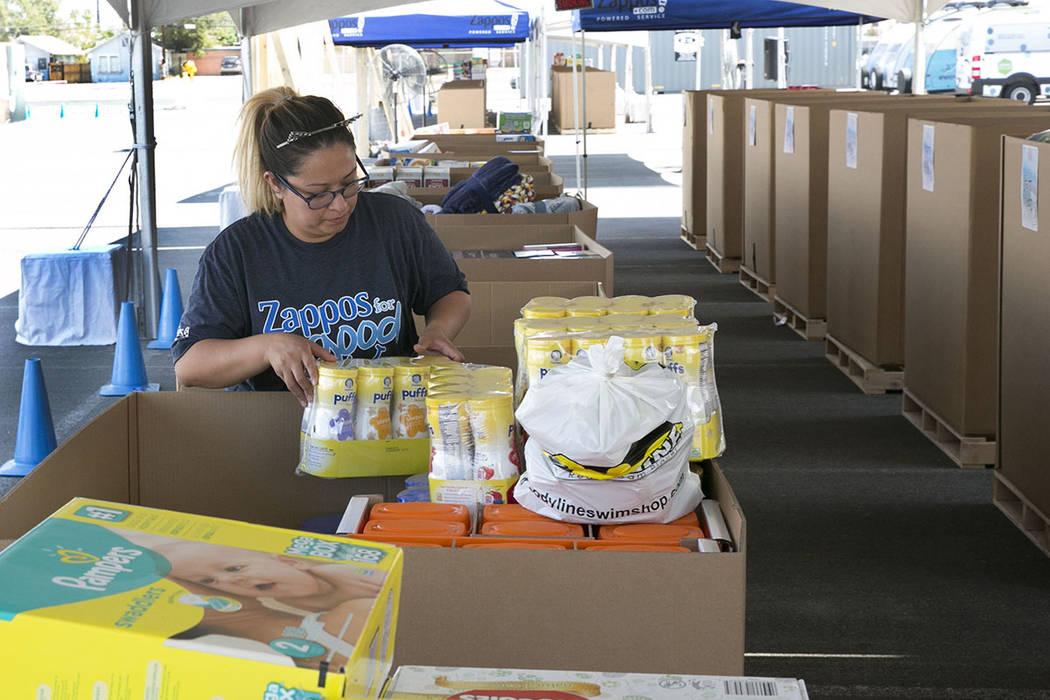 Zappos employee, Norma Gonzalez, sorts out donations in downtown Las Vegas for survivors of Hurricane Harvey on Tuesday, Sept. 5, 2017. (Bizuayehu Tesfaye/Las Vegas Review-Journal) @bizutesfaye