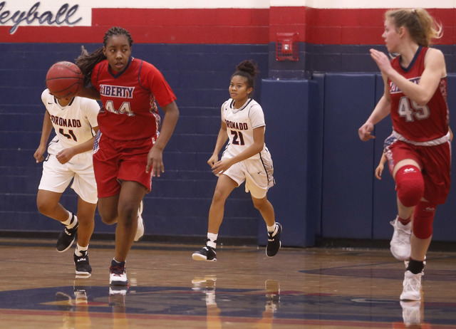 Liberty junior Dre'una Edwards (#44) drives down the court during a basketball game on Tuesday, Jan. 24, 2017, in Henderson, Nevada. (Christian K. Lee/Las Vegas Review-Journal) @chrisklee_jpeg