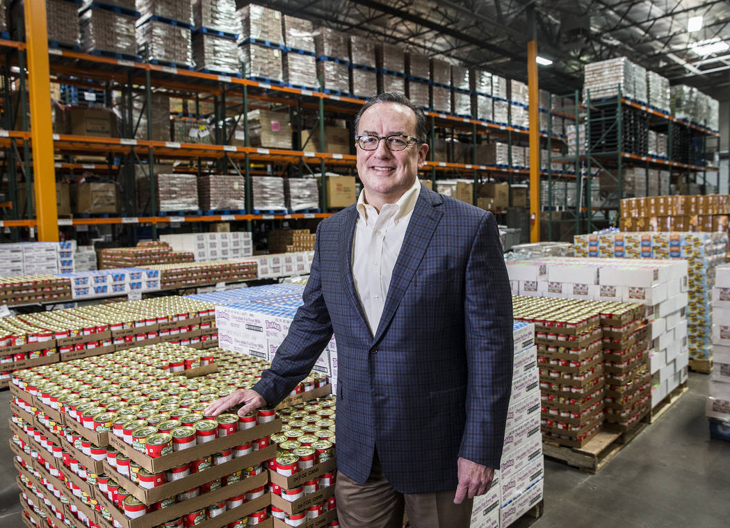Brian Burton, CEO of Three Square, in the warehouse of the Las Vegas-based food bank on Monday, Sept. 11, 2017. (Benjamin Hager/Las Vegas Review-Journal) @benjaminhphoto