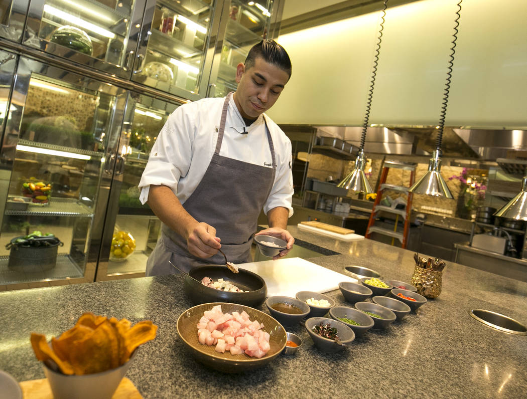 Executive sous chef Joseph Cadina prepares a Kampachi poke dish on Thursday, Sept. 7, 2017, at Roy Ellermar's Harvest in the Bellagio. Richard Brian Las Vegas Review-Journal @vegasphotograph