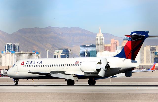 A Delta Airlines plane taxis after landing at McCarran International Airport on Wednesday, Feb. 15, 2017, in Las Vegas. (Bizuayehu Tesfaye/Las Vegas Review-Journal) @bizutesfaye