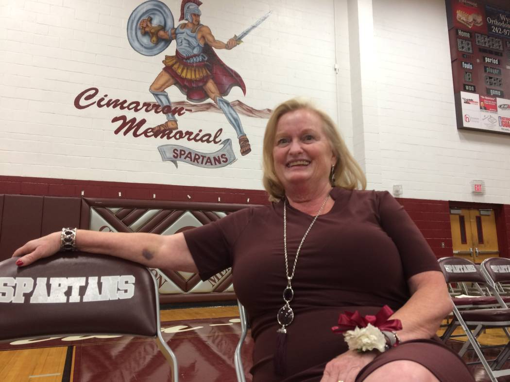 Lori Sarabyn, principal, pauses after giving an open house speech Sept. 5, 2017, at Cimarron-Memorial High School. She said her school was in good shape even if the school board cuts funding as it ...