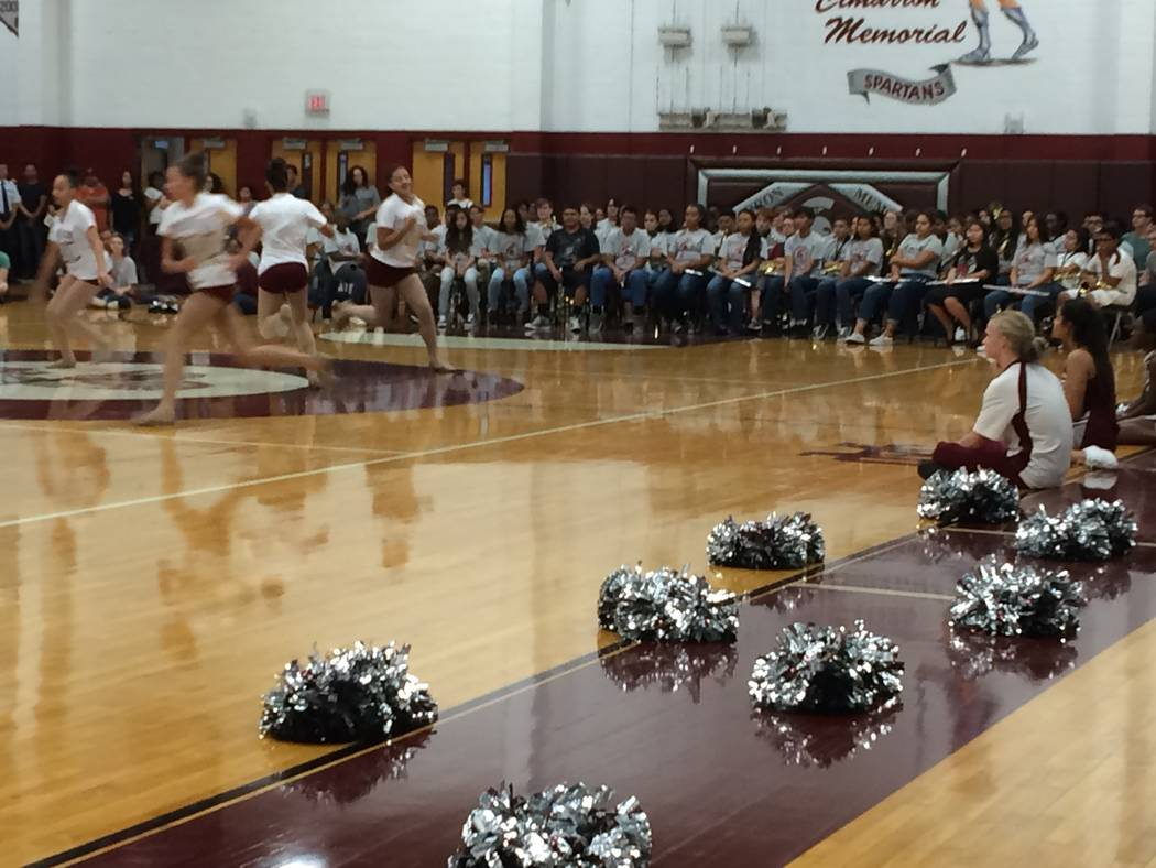 The dance team at Cimarron-Memorial High School performs Sept. 5, 2017,  at an open house. Like other schools, there was speculation about what might be cut when the school district determines how ...