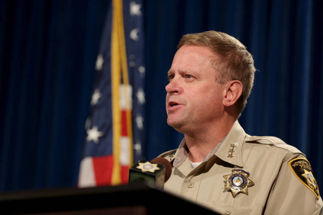 Undersheriff Kevin McMahill meets with news media at the Las Vegas Police Headquarters Wednesday, Sept. 6, 2017, regarding a Las Vegas police incident with Seattle Seahawks' Michael Bennet  ...