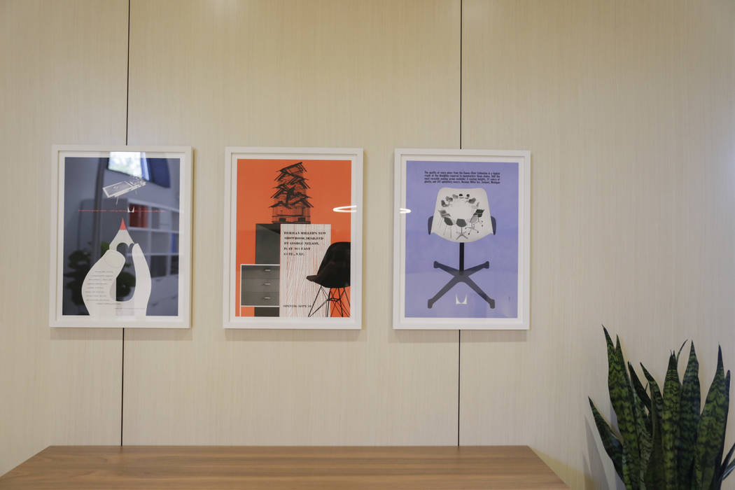 Herman Miller posters in Henriksen/Butler's show room at the company's new offices in Las Vegas, Thursday, Sept. 14, 2017. The building used to be the Gamblers Book Shop. Gabriella Angotti-Jones L ...