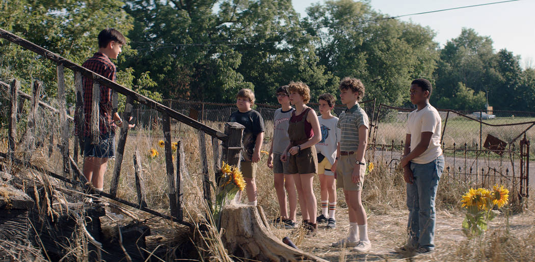 Photo Credit: COURTESY OF WARNER BROS. PICTURES  Caption: (L-r) JAEDEN LIEBERHER as Bill Denbrough, JEREMY RAY TAYLOR as Ben Hanscom, FINN WOLFHARD as Richie Tozier, SOPHIA LILLIS as Beverly Marsh ...