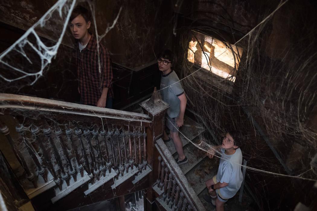 "Photo Credit: Brooke Palmer  Caption: (L-R) JAEDEN LIEBERHER as Bill Denbrough, FINN WOLFHARD as Richie Tozier and JACK DYLAN GRAZER as Eddie Kaspbrak in New Line Cinema's horror thriller ""IT,"" a  ..."