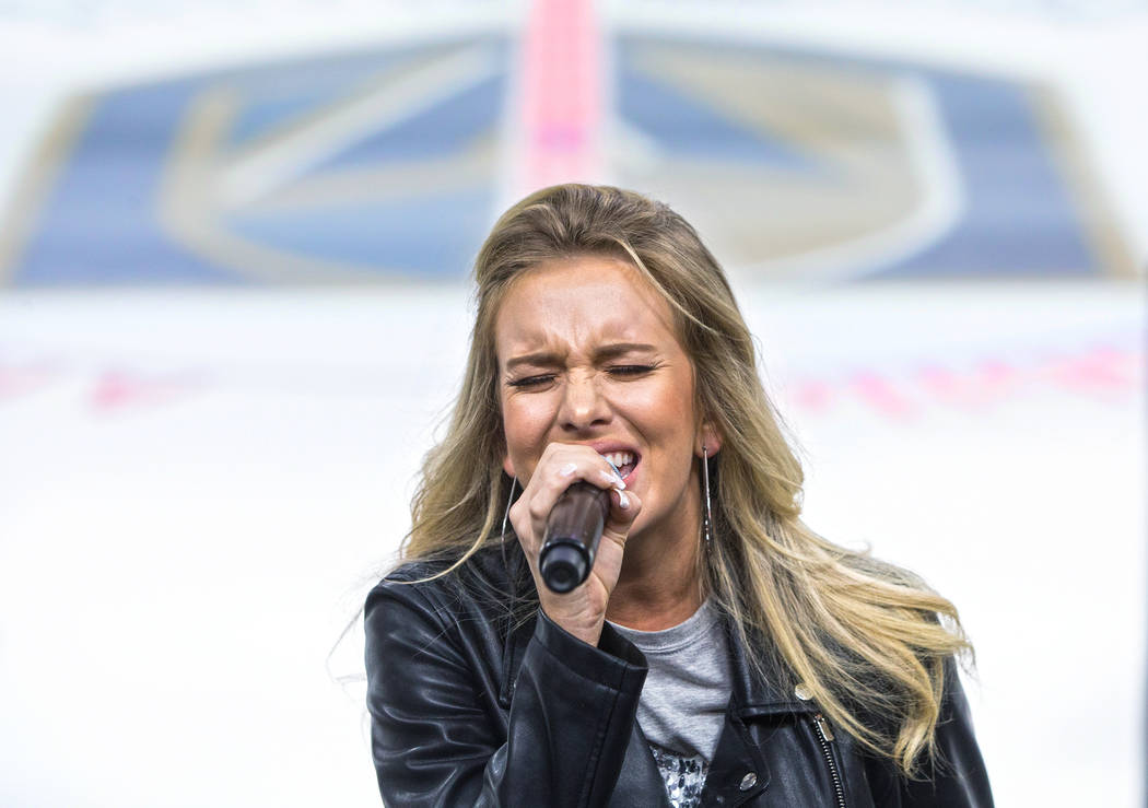 Sierra Black performs during auditions to sing the national anthem for Vegas Golden Knights home games on Wednesday, September 6, 2017, at T-Mobile Arena, in Las Vegas. Benjamin Hager Las Vegas Re ...