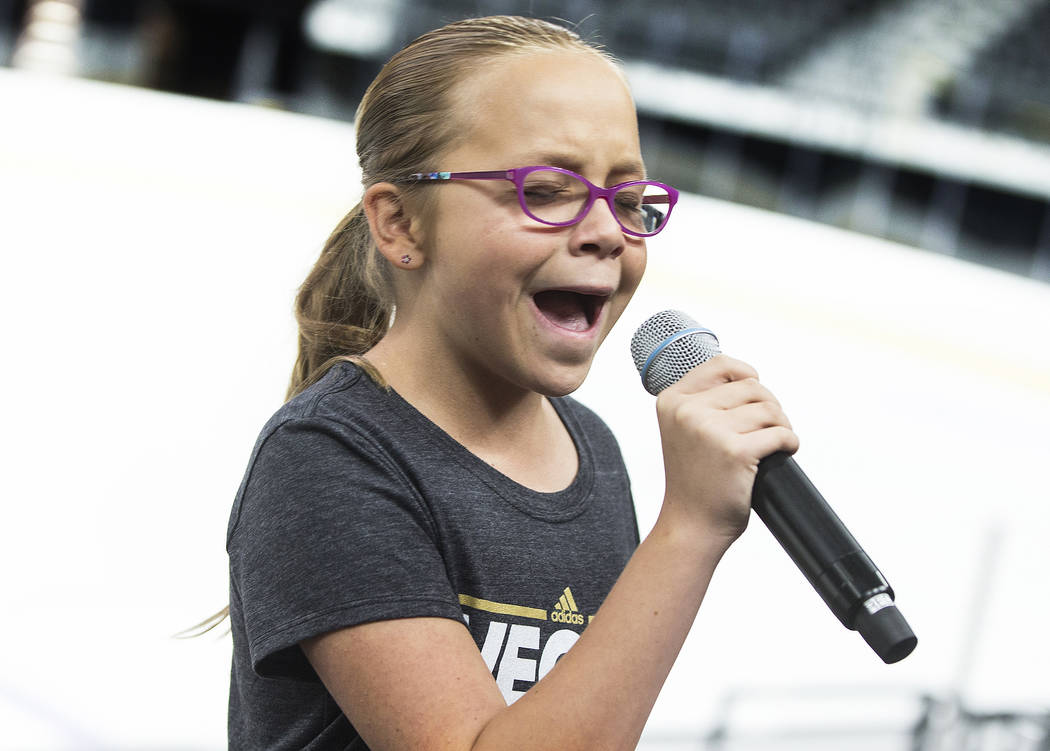 Mandy Breen performs during auditions to sing the national anthem for Vegas Golden Knights home games on Wednesday, September 6, 2017, at T-Mobile Arena, in Las Vegas. Benjamin Hager Las Vegas Rev ...