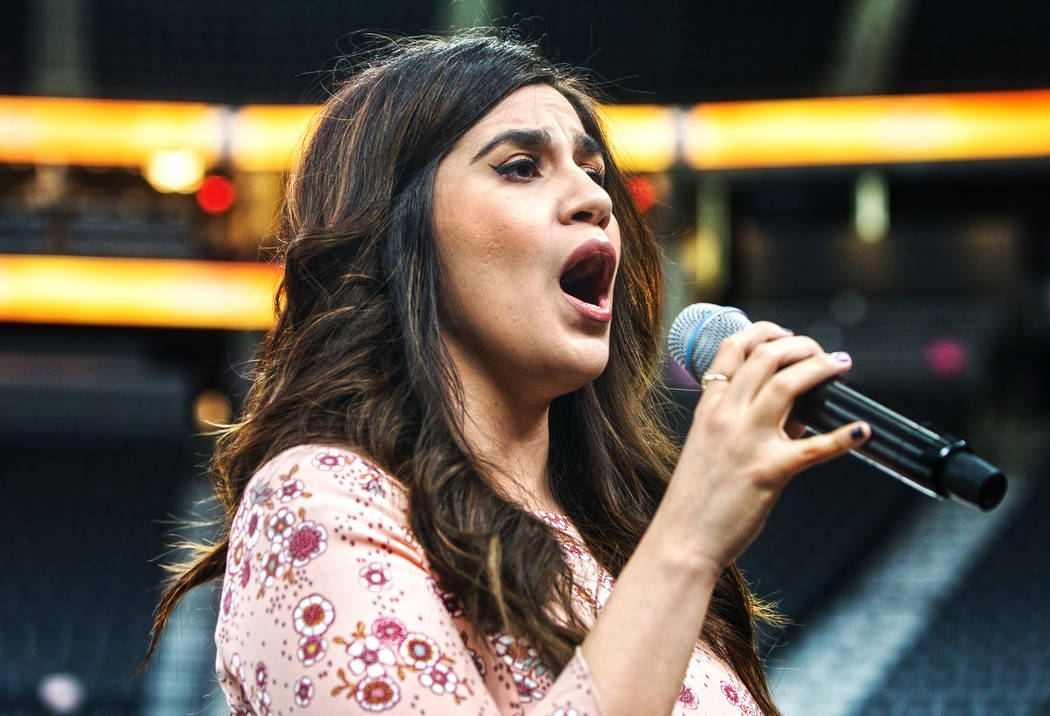 Sylvia Alvarado performs during auditions to sing the national anthem for Vegas Golden Knights home games on Wednesday, September 6, 2017, at T-Mobile Arena, in Las Vegas. Benjamin Hager Las Vegas ...