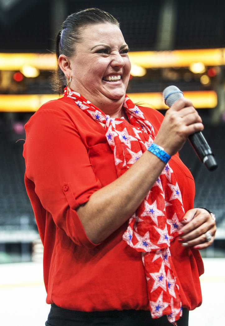 Jenna Jackson performs during auditions to sing the national anthem for Vegas Golden Knights home games on Wednesday, September 6, 2017, at T-Mobile Arena, in Las Vegas. Benjamin Hager Las Vegas R ...
