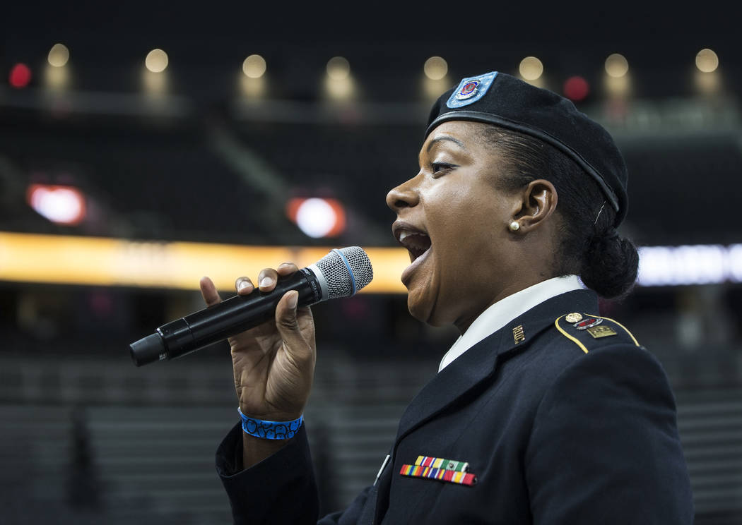 Army cadet JR Phelps performs during auditions to sing the national anthem for Vegas Golden Knights home games on Wednesday, September 6, 2017, at T-Mobile Arena, in Las Vegas. Benjamin Hager Las  ...