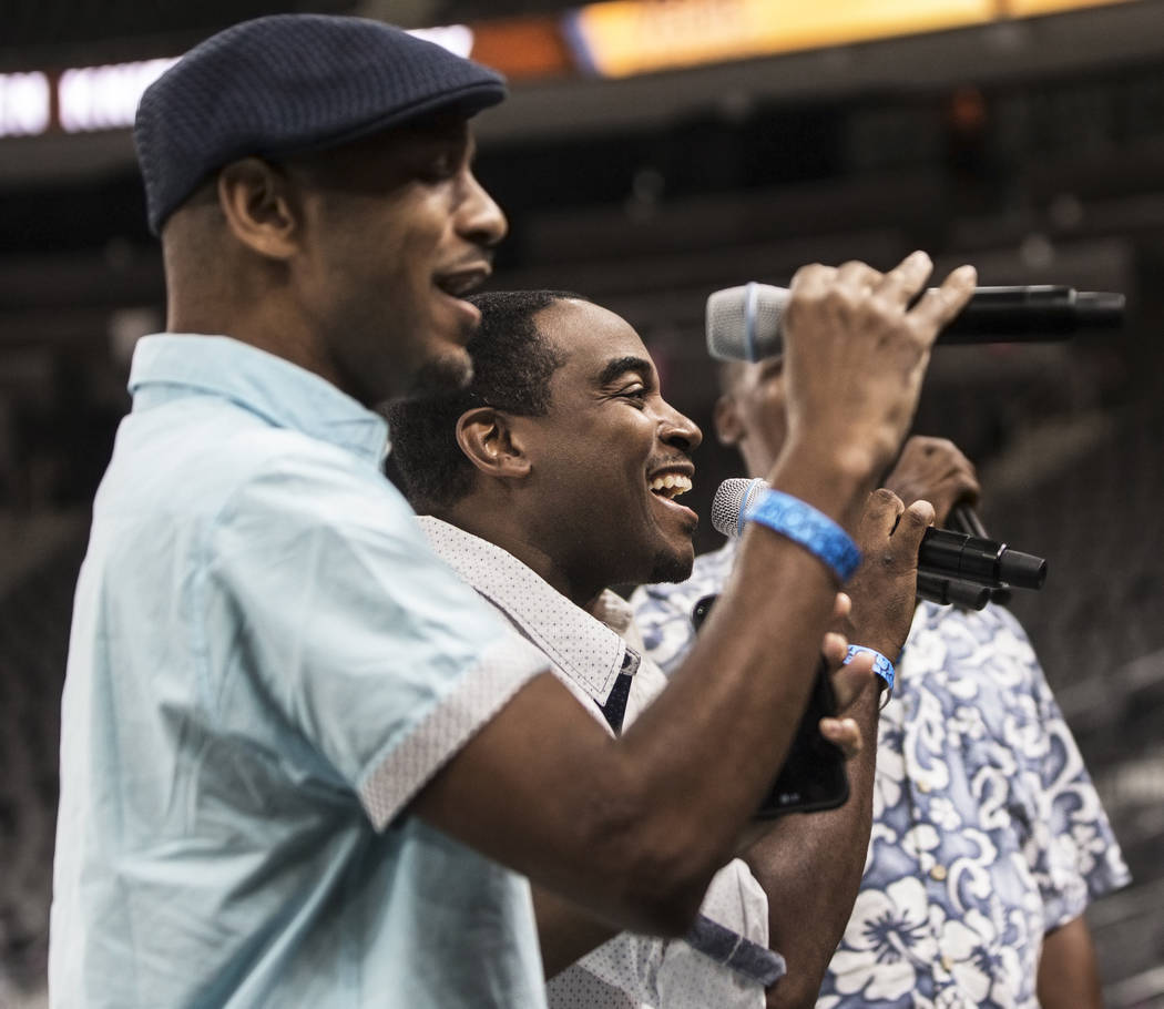Claude Thomas, left, and Dyshon Benson perform with the band Az Yet during auditions to sing the national anthem for Vegas Golden Knights home games on Wednesday, September 6, 2017, at T-Mobile Ar ...