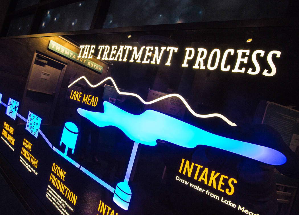 A display illustrating the process involved with treating local water at the new Springs Preserve WaterWorks exhibit on Tuesday, September 5, 2017, in Las Vegas. Benjamin Hager Las Vegas Review-Jo ...