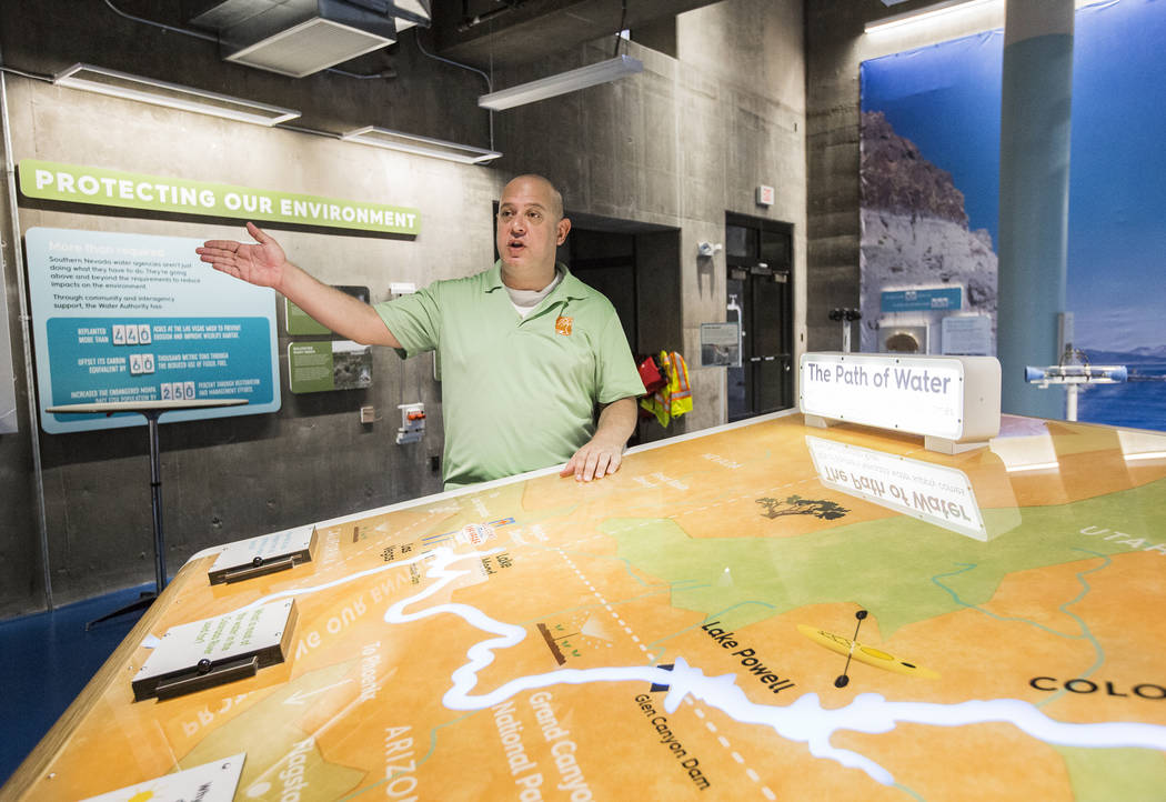 Curator Aaron Micallef discusses a display illustrating the path of water through Nevada at the new Springs Preserve WaterWorks exhibit on Tuesday, September 5, 2017, in Las Vegas. Benjamin Hager  ...