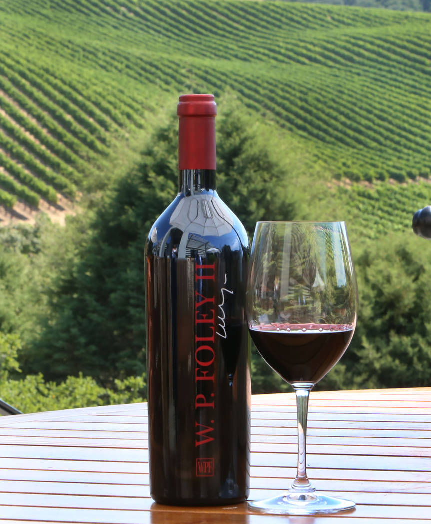 A bottle of red wine at Chalk Hill Estate Vineyards and Winery, owned by the Vegas Golden Knights owner Bill Foley, in Healdsburg, Calif., on Wednesday, Aug. 2, 2017. Bizuayehu Tesfaye Las Vegas R ...