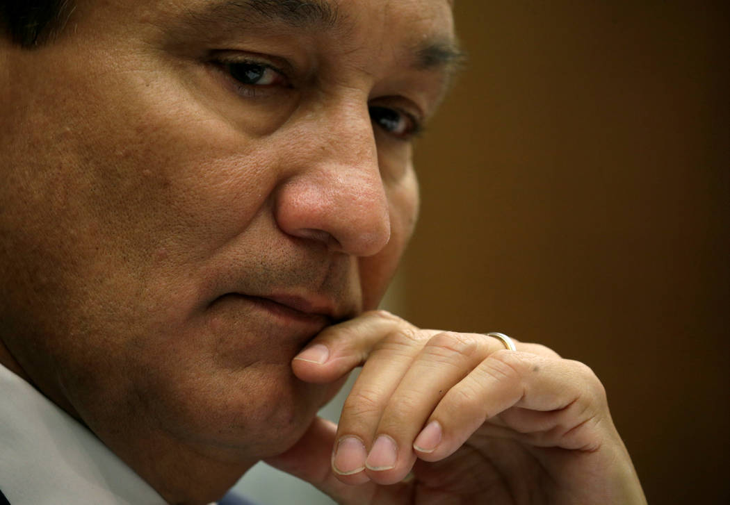 Oscar Munoz, CEO of United Airlines, listens to remarks as he testifies at a House Transportation and Infrastructure Committee hearing in the aftermath of the recent forced removal of a passenger  ...