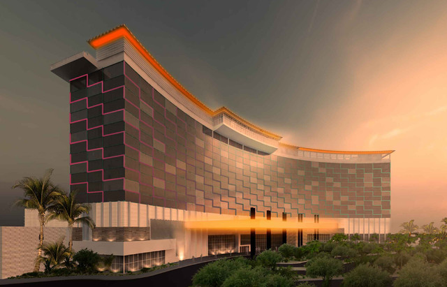 A rendering of part of the project which Australian developer Josh Kearney plans to build, The Edge, an $800 million project with a hotel, water sports and other attractions.  Courtesy Josh Kearney