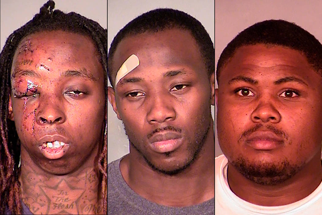 Kevin Hall, left, Justin Loper, center, and Keith Williams, right were sentenced to prison Sept. 6, 2017 for a string of convenience store robberies. (Las Vegas Metropolitan Police Department)