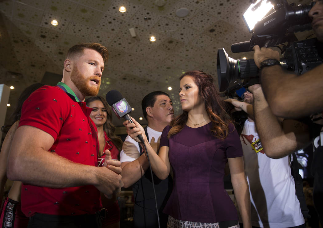 "Saul ""Canelo"" Alvarez during his ""grand arrival"" at the MGM Grand hotel-casino in Las Vegas, Tuesday, Sept. 12, 2017. Golovkin is schedule to fight Gennady Golo ..."