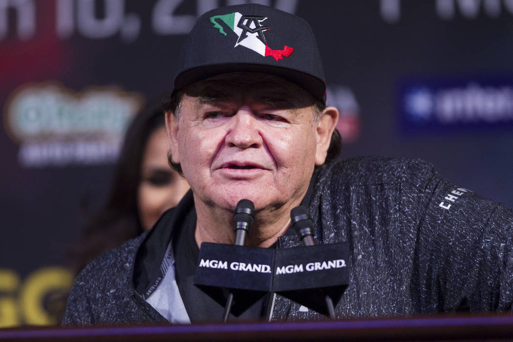 "Boxing trainer Jose ""Chepo"" Reynoso during the final press conference between Saul ""Canelo"" Alvarez and Gennady Golovkin at MGM Grand hotel-casino in Las Vegas, ..."