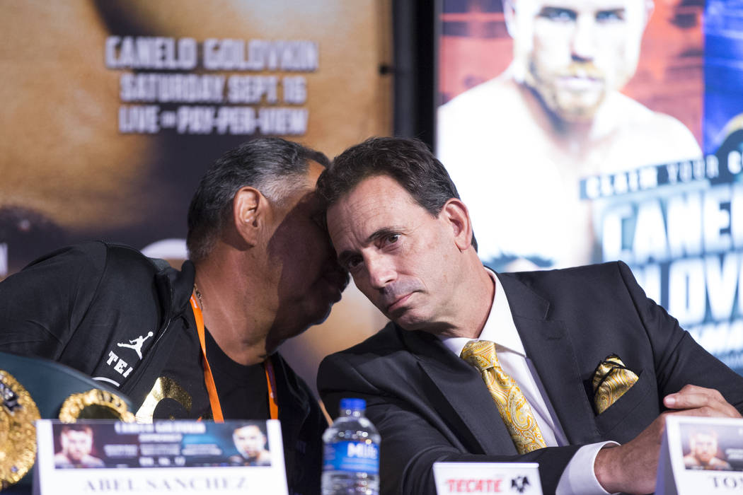 Boxing trainer Abel Sanchez, left, and promoter Tom Loeffler during a press conference at MGM Grand hotel-casino in Las Vegas, Wednesday, Sept. 13, 2017. Erik Verduzco Las Vegas Review-Journal @Er ...