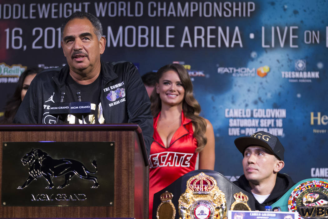 "Gennady Golovkin, right, with his coach Abel Sanchez during a press conference at MGM Grand hotel-casino in Las Vegas, Wednesday, Sept. 13, 2017. Golovkin is scheduled to fight Saul ""Cane ..."